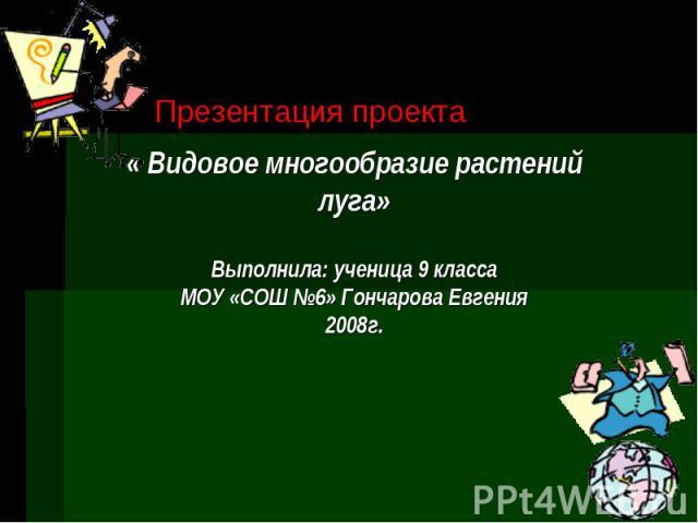 Презентация проекта « Видовое многообразие растений луга» Выполнила: ученица 9 класса МОУ «СОШ №6» Гончарова Евгения 2008г.