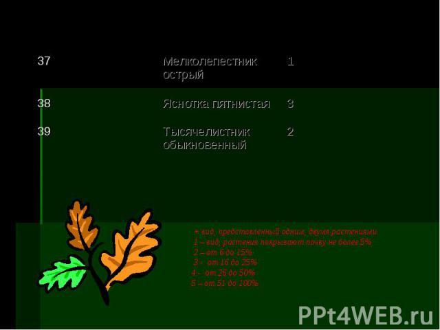 + вид, представленный одним, двумя растениями 1 – вид, растения покрывают почву не более 5% 2 – от 6 до 15% 3 - от 16 до 25% 4 - от 26 до 50% 5 – от 51 до 100%
