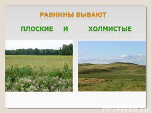 Равнины бывают плоские и холмистые