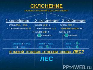 СКЛОНЕНИЕ сколько склонений в русском языке? 1 склонение 2 склонение 3 склонение