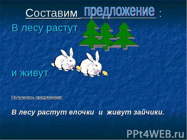 Составим : В лесу растут и живут . Получилось предложение: В лесу растут елочки и живут зайчики.
