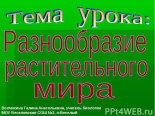 Тема урока: Разнообразие растительного мира Волчихина Галина Анатольевна, учител