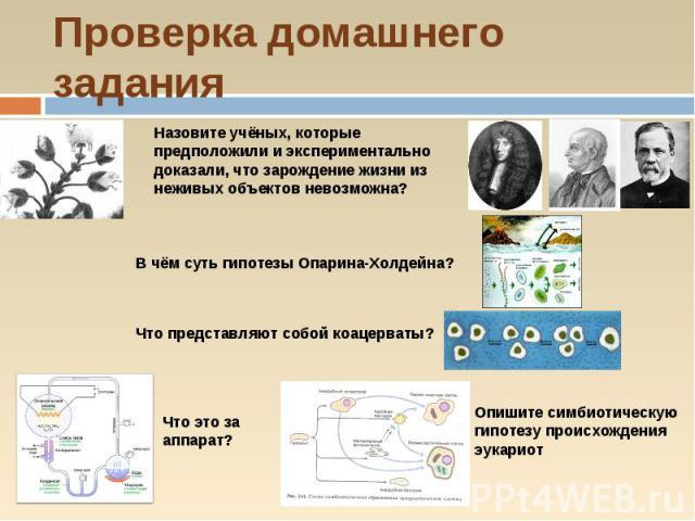 Проверка домашнего заданияНазовите учёных, которые предположили и экспериментально доказали, что зарождение жизни из неживых объектов невозможна? В чём суть гипотезы Опарина-Холдейна? Что представляют собой коацерваты? Опишите симбиотическую гипотез…