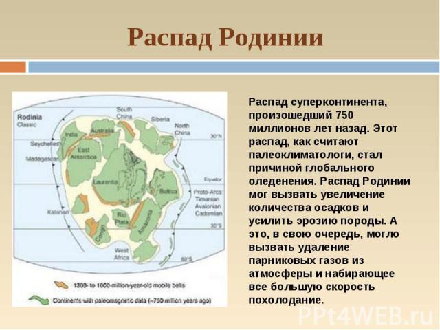 Распад Родинии Распад суперконтинента, произошедший 750 миллионов лет назад. Этот распад, как считают палеоклиматологи, стал причиной глобального оледенения. Распад Родинии мог вызвать увеличение количества осадков и усилить эрозию породы. А это, в …