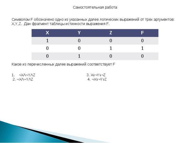 Самостоятельная работа Символом F обозначено одно из указанных далее логических выражений от трех аргументов: X,Y,Z. Дан фрагмент таблицы истинности выражения F. Какое из перечисленных далее выражений соответствует F ¬XΛ¬YΛZ 3. Xν¬Yν¬Z 2. ¬XΛ¬YΛZ 4.…