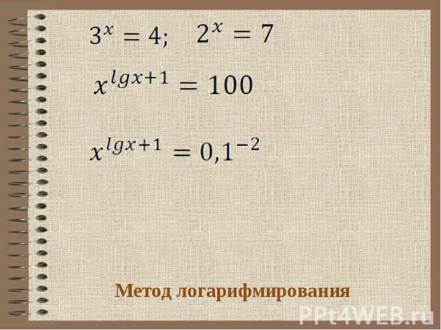 Метод логарифмирования
