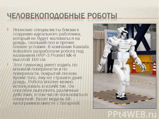 Человекоподобные роботы Японские специалисты близки к созданию идеального работн