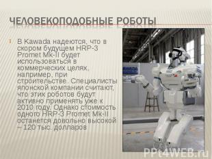 Человекоподобные роботы В Kawada надеются, что в скором будущем HRP-3 Promet Mk-