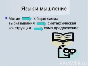 Язык и мышлениеМотив общая схема высказывания синтаксическая конструкция само пр