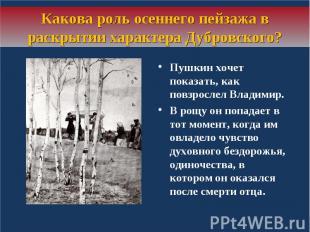 Какова роль осеннего пейзажа в раскрытии характера Дубровского?Пушкин хочет пока