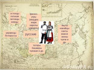 эстонцы латыши литовцы немцы финно-угры (мордва мари карелы удмурты) якуты нанай