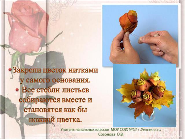 Закрепи цветок нитками у самого основания. Все стебли листьев собираются вместе и становятся как бы ножкой цветка.