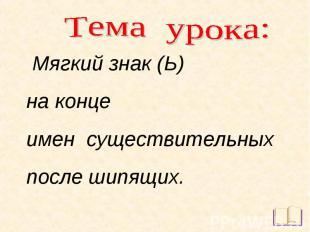 Тема урока: Мягкий знак (Ь) на конце имен существительных после шипящих.