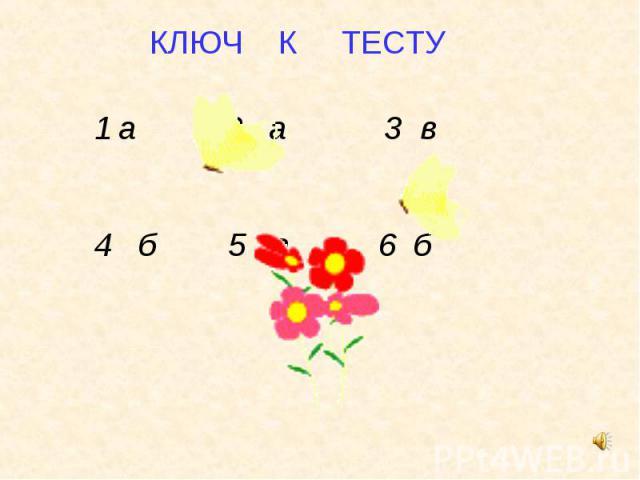 КЛЮЧ К ТЕСТУ а 2 а 3 в 4 б 5 а 6 б