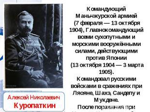 Командующий Маньчжурской армией (7 февраля — 13 октября 1904), Главнокомандующий