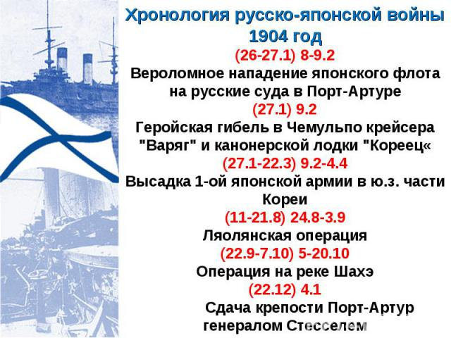Хронология русско-японской войны 1904 год (26-27.1) 8-9.2 Вероломное нападение японского флота на русские суда в Порт-Артуре (27.1) 9.2 Геройская гибель в Чемульпо крейсера