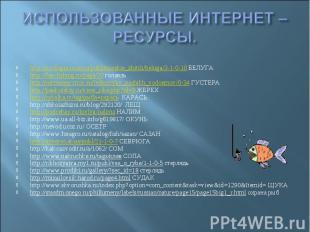 ИСПОЛЬЗОВАННЫЕ ИНТЕРНЕТ –РЕСУРСЫ. http://zoologia.ucoz.ru/publ/morskie_zhitili/b