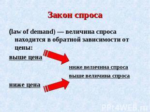 Закон спроса(law of demand) — величина спроса находится в обратной зависимости о