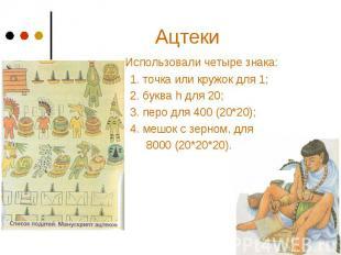 Ацтеки Использовали четыре знака: 1. точка или кружок для 1; 2. буква h для 20;