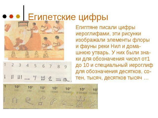 Египетские цифры Египтяне писали цифры иероглифами, эти рисунки изображали элементы флоры и фауны реки Нил и дома-шнюю утварь. У них были зна- ки для обозначения чисел от1 до 10 и специальный иероглиф для обозначения десятков, со- тен, тысяч, десятк…