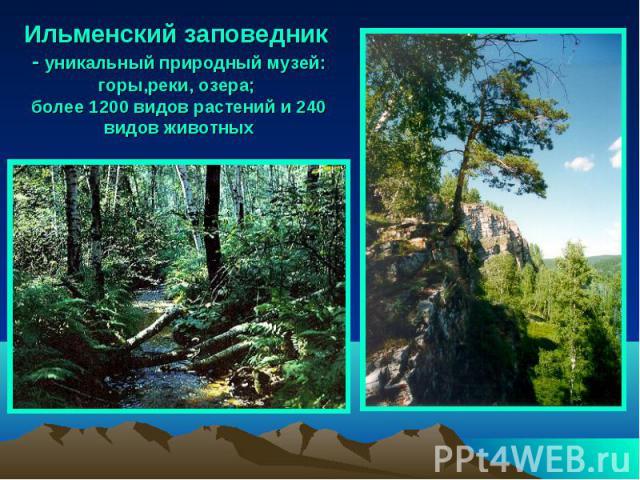 Ильменский заповедник - уникальный природный музей: горы,реки, озера; более 1200 видов растений и 240 видов животных