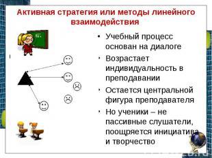 Активная стратегия или методы линейного взаимодействия Учебный процесс основан н