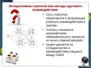 Интерактивная стратегия или методы кругового взаимодействия Суть стратегии заклю