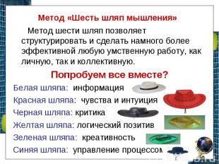 Метод «Шесть шляп мышления» Метод шести шляп позволяет структурировать и сделать
