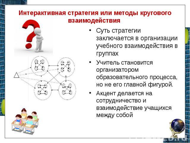 Интерактивная стратегия или методы кругового взаимодействия Суть стратегии заключается в организации учебного взаимодействия в группах Учитель становится организатором образовательного процесса, но не его главной фигурой. Акцент делается на сотрудни…