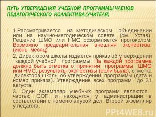 Путь утверждения учебной программы членов педагогического коллектива (учителя) 1