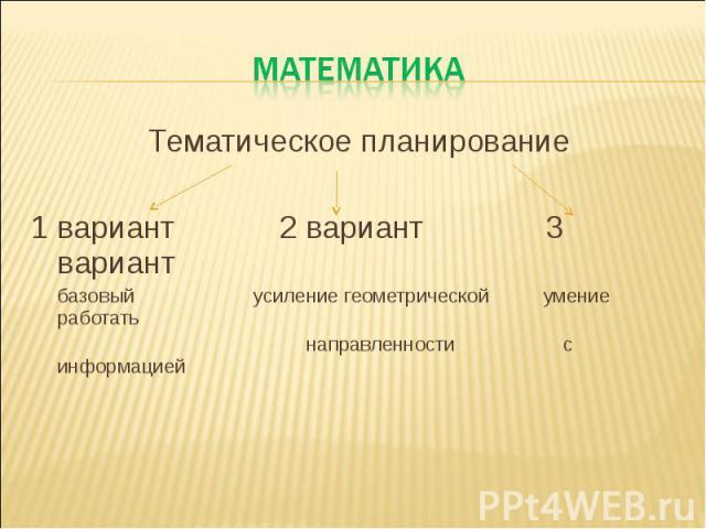 МАТЕМАТИКАТематическое планирование 1 вариант 2 вариант 3 вариант базовый усиление геометрической умение работать направленности с информацией