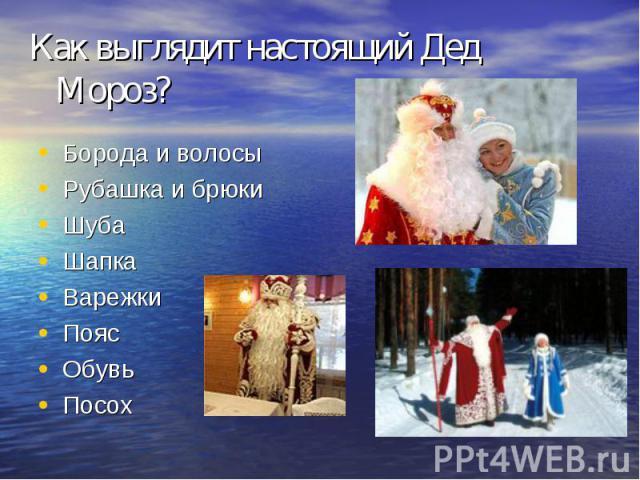 Как выглядит настоящий Дед Мороз?Борода и волосы Рубашка и брюки Шуба Шапка Варежки Пояс Обувь Посох