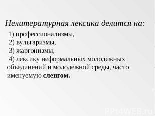 Нелитературная лексика делится на: 1) профессионализмы, 2) вульгаризмы, 3) жарго