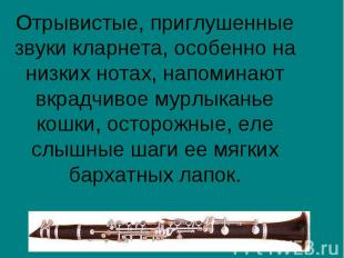 Отрывистые, приглушенные звуки кларнета, особенно на низких нотах, напоминают вк