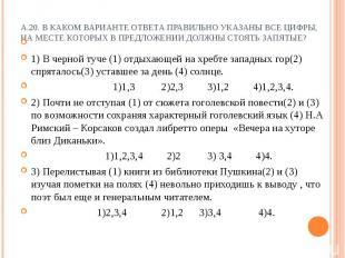 А.20. В каком варианте ответа правильно указаны все цифры, на месте которых в пр
