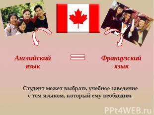 Английский язык Французский язык Студент может выбрать учебное заведение с тем я
