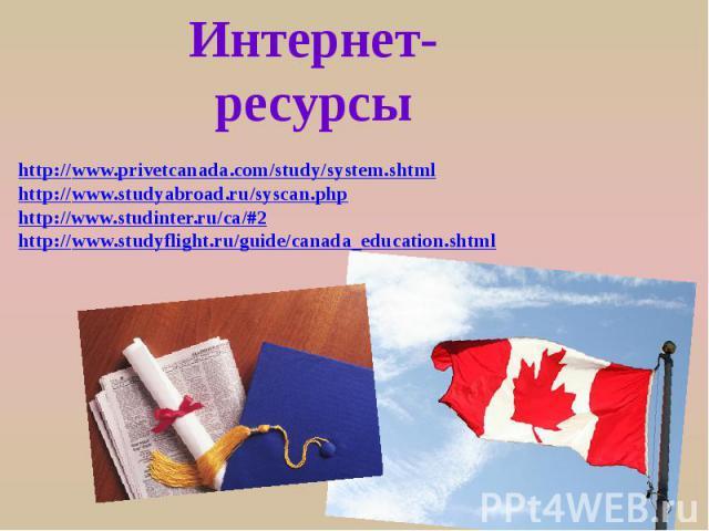 Интернет-ресурсы http://www.privetcanada.com/study/system.shtml http://www.studyabroad.ru/syscan.php http://www.studinter.ru/ca/#2 http://www.studyflight.ru/guide/canada_education.shtml