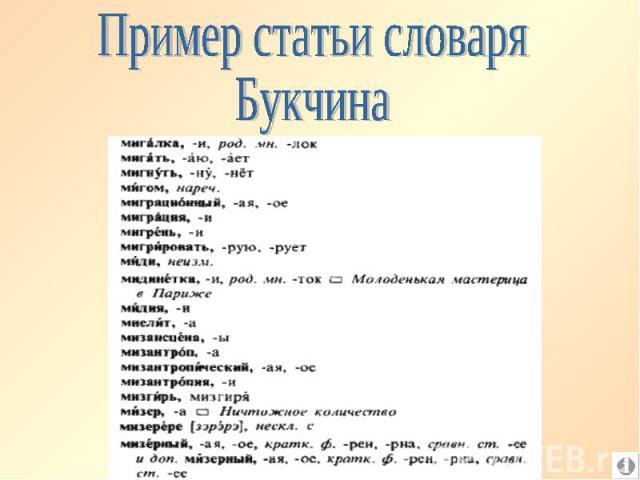 Пример статьи словаря Букчина