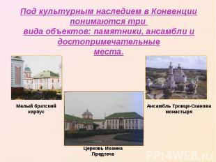 Под культурным наследием в Конвенции понимаются три вида объектов: памятники, ан