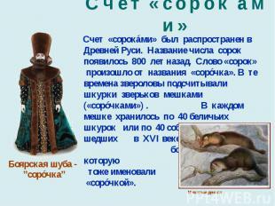 С ч е т « с о р о к á м и » Счет «сорокáми» был распространен в Древней Руси. На