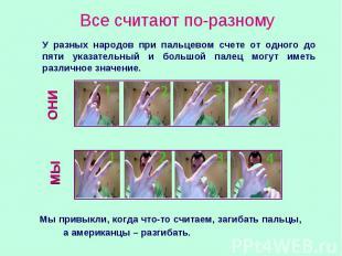 Все считают по-разному У разных народов при пальцевом счете от одного до пяти ук