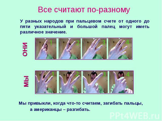 Все считают по-разному У разных народов при пальцевом счете от одного до пяти указательный и большой палец могут иметь различное значение. Мы привыкли, когда что-то считаем, загибать пальцы, а американцы – разгибать.