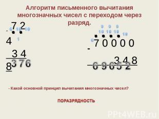 Алгоритм письменного вычитания многозначных чисел с переходом через разряд.- Как