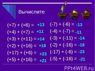 Вычислите(+7) + (+6) = (+4) + (+7) = (+3) + (+11) = (+2) + (+16) = (+17) + (+6)