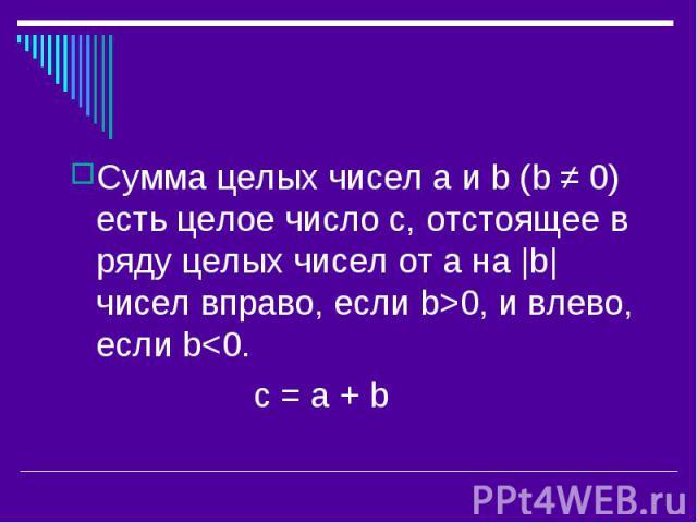 Сумма целых чисел a и b (b ≠ 0) есть целое число с, отстоящее в ряду целых чисел от а на |b| чисел вправо, если b>0, и влево, если b