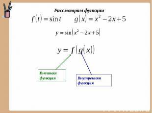 Рассмотрим функции Внешняя функция Внутренняя функция