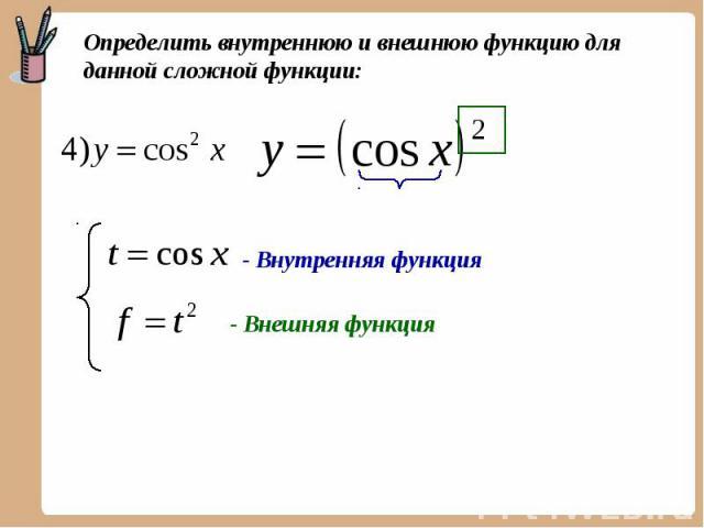 Определить внутреннюю и внешнюю функцию для данной сложной функции: - Внутренняя функция - Внешняя функция