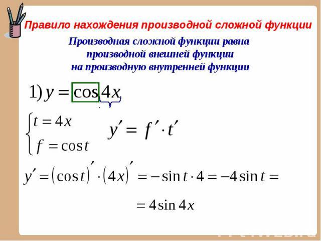 Правило нахождения производной сложной функции Производная сложной функции равна производной внешней функции на производную внутренней функции