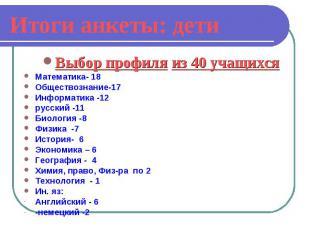 Итоги анкеты: детиВыбор профиля из 40 учащихся Математика- 18 Обществознание-17