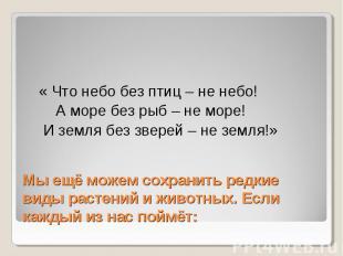 « Что небо без птиц – не небо! А море без рыб – не море! И земля без зверей – не